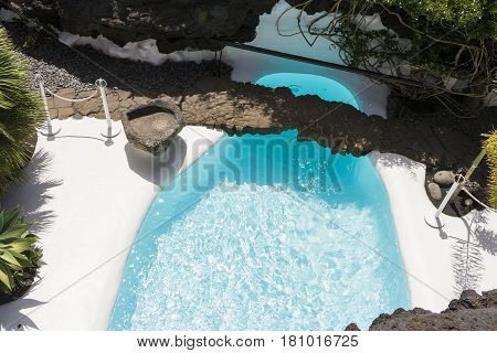 Swimming Pool In Natural Volcanic Rock Area