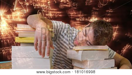 Digital composite of Digital composite image of tired student sleeping on books surrounded with equations