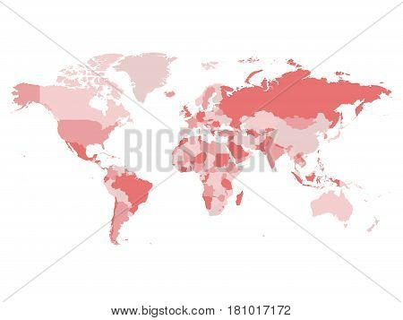 World map in four shades of pink on white background. High detail blank political map. Vector illustration with labeled compound path of each country.