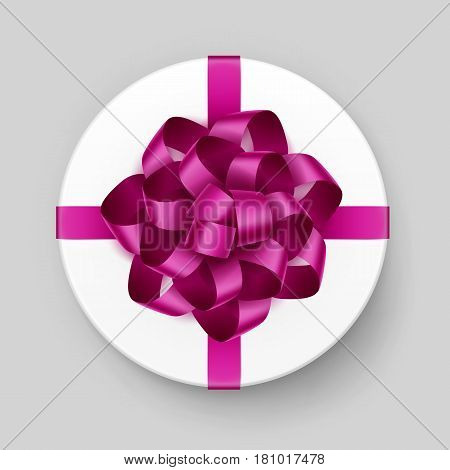 Vector White Round Gift Box with Shiny Magenta Dark Pink Bow and Ribbon Top View Close up Isolated on Background
