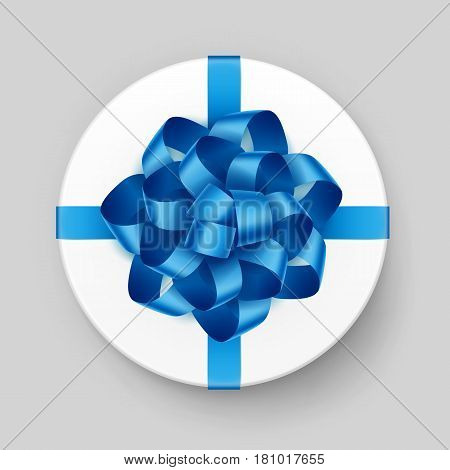 Vector White Round Gift Box with Shiny Light Blue Turquoise Azure  Bow and Ribbon Top View Close up Isolated on Background