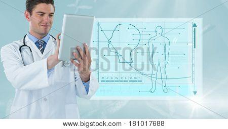 Digital composite of Male doctor using digital tablet against medical background