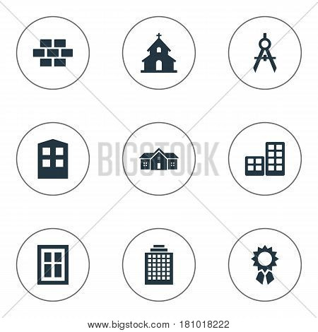 Vector Illustration Set Of Simple Architecture Icons. Elements Construction, Glazing, Popish And Other Synonyms Building, Home And Offices.