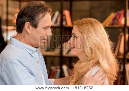 Profile Portrait Of Beautiful Happy Mature Couple Looking At Each Other