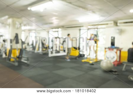 Blurred abstract background of fitness gym indoor