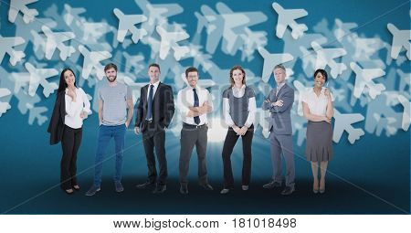 Digital composite of Digitally generated image of confident business people with airplanes flying in background