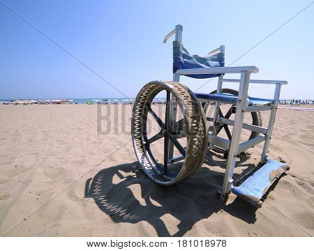 Wheelchair With Stainless Steel Wheel Rims To Go In The Sea