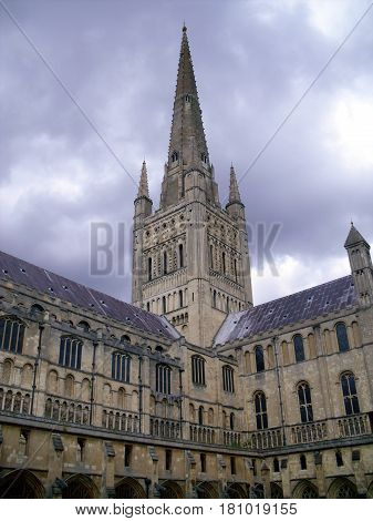 A View Of Norwich Cathedral From The Side