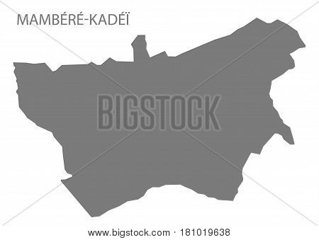 Mambere Kadei prefecture map grey illustration silhouette