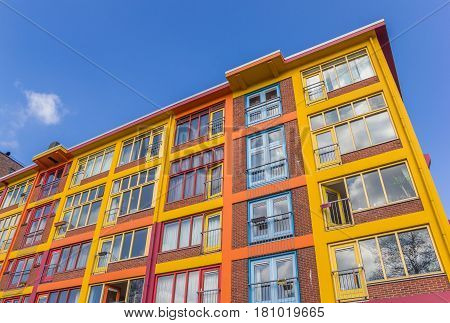 Colorful apartment building in a former warehouse in Groningen Netherlands