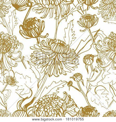 Japanese chrysanthemum hand drawn seamless pattern with buds, flowers, leaves, Vintage style illustration.