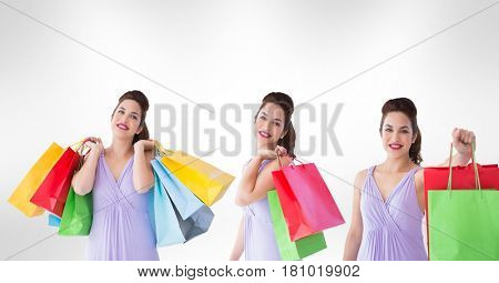 Digital composite of Multiple image of woman holding shopping bags against white background