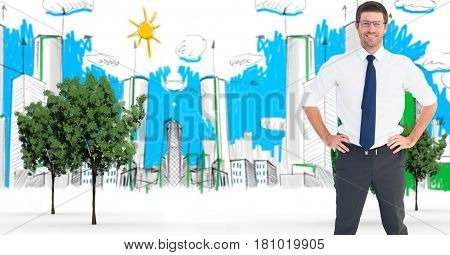 Digital composite of Digital composite of confident businessman standing with hands on hip in city
