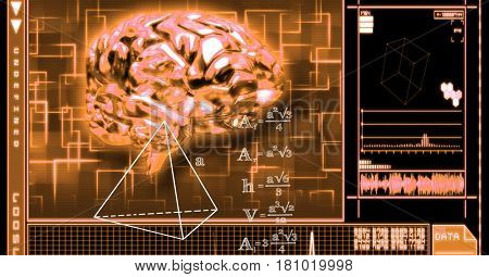 Digital composite of 3d image of brain and equations