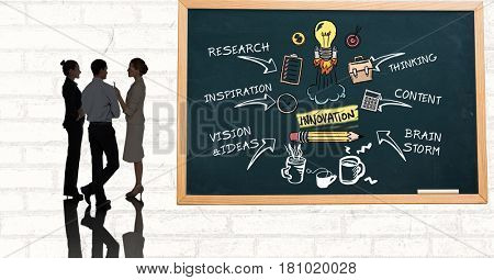 Digital composite of Business people discussing while standing by innovation diagram on blackboard