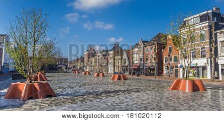 GRONINGEN, NETHERLANDS - APRIL 02, 2017: Panorama of old houses at the new Damsterplein square in Groningen, Holland