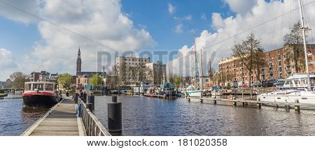 GRONINGEN, NETHERLANDS - APRIL 02, 2017: Panoramic view of the east harbor in Groningen, Holland