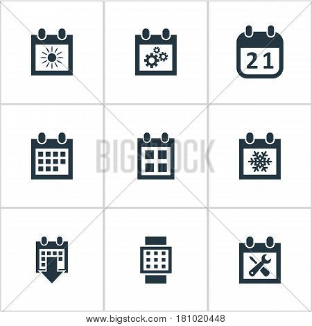 Vector Illustration Set Of Simple Plan Icons. Elements Summer Calendar, Renovation Tools, Date Block And Other Synonyms Agenda, Almanac And Block.