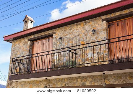 Vintage old balcony. Beautiful Balcony in small town