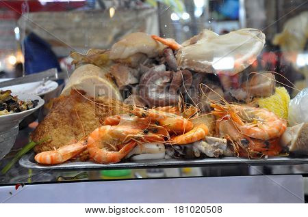 Street Food In Saigon, Vietnam. Fish, Shrimp And Octopus