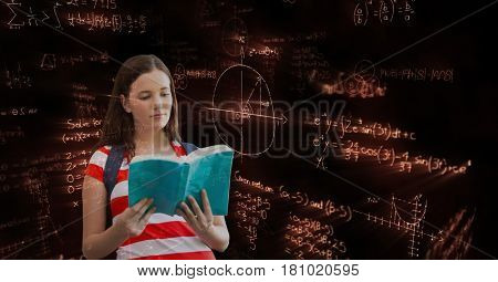 Digital composite of Female student reading book black background with equations