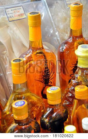 Laotian Brandy, Liquor With A Scorpion Inside The Bottle