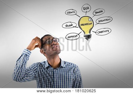 Digital composite of Confused businessman looking at innovation light bulb with various text