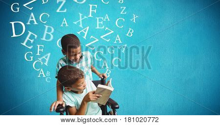 Digital composite of Handicap boy and brother reading book with alphabets flying over blue background