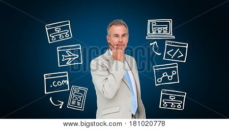 Digital composite of Confident businessman surrounded with various icons