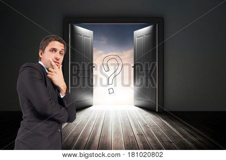 Digital composite of Confused businessman standing with door and question mark sign in background