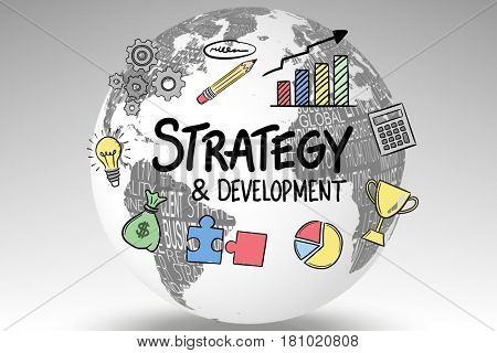 Digital composite of Icons surrounding strategy and development text on globe