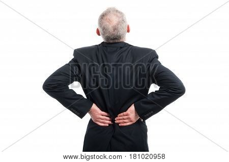 Back View Of Senior Holding His Back Like Hurting
