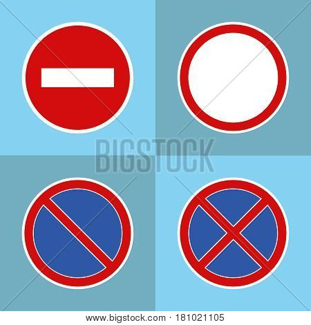 Road prohibitory signs. Flat design vector illustration vector.