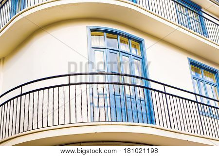 Blue old balcony. Beautiful Balcony in small town