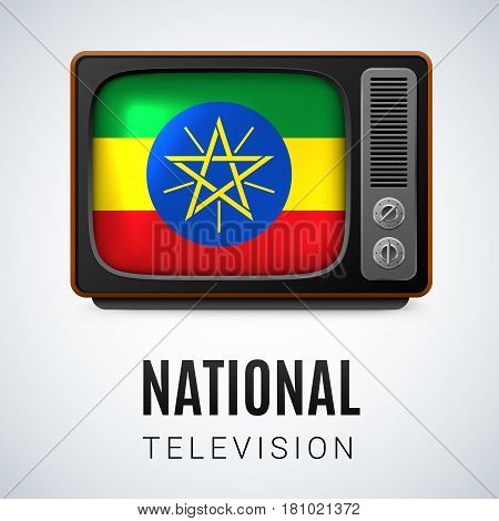 Vintage TV and Flag of Ethiopia as Symbol National Television. Button with Ethiopian flag