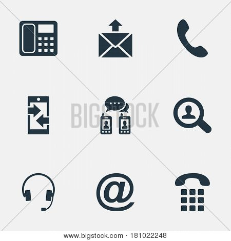 Vector Illustration Set Of Simple Communication Icons. Elements Intercommunication, House Phone, Telephone Switchboard And Other Synonyms Earmuff, Outgoing And Postage.