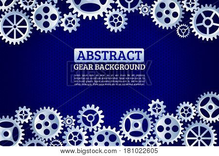 Abstract gears background. Mechanism with integrated gears for business presentations or information banner. Modern design of background esp 10
