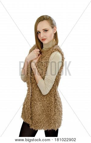 Beautiful Young Girl In A Vest An Artificial Fur