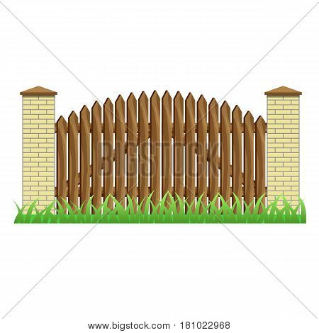 Fence with brick pillars and wood gate. Element to use in manor farm or garden fence. Isolated object on white background. Vector illustration