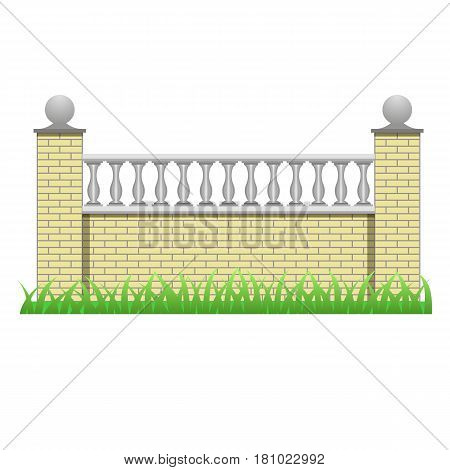 Brick fence decorated with balusters. Element to use in manor house or garden fence. Isolated object on white background. Vector illustration