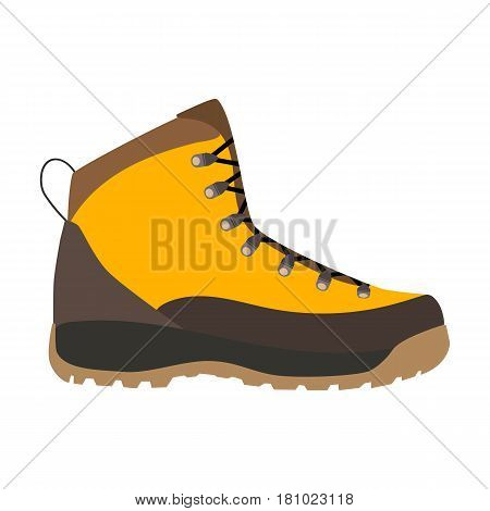 Enduring Leather Boot, Camping And Hiking Outdoor Tourism. Vector illustration in flat style
