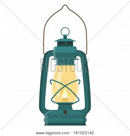 Vintage camping lantern isolated on white background. Retro gas lamp with glowing fire wick. Vector illustration in flat style