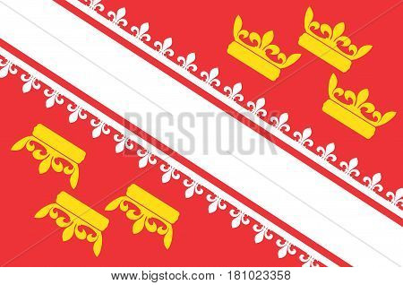 Flag of Alsace is a cultural and historical region in eastern France now located in the administrative region of Grand Est. Vector illustration