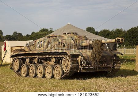 WESTERNHANGER, UK - JULY 21: A replica WW2 German panzer stands on display within the German WW2 living history section at the War & Peace Revival show on July 21, 2016 in Westernhanger