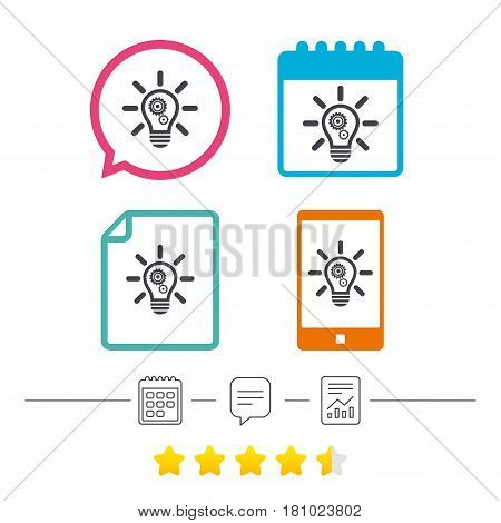 Light lamp sign icon. Bulb with gears and cogs symbol. Idea symbol. Calendar, chat speech bubble and report linear icons. Star vote ranking. Vector