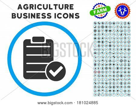 Approve List rounded icon with agriculture commercial glyph collection. Vector illustration style is a flat iconic symbol inside a circle, blue and gray colors.