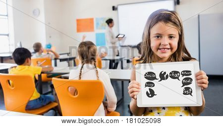 Digital composite of Cute girl showing symbols on tablet computer in classroom