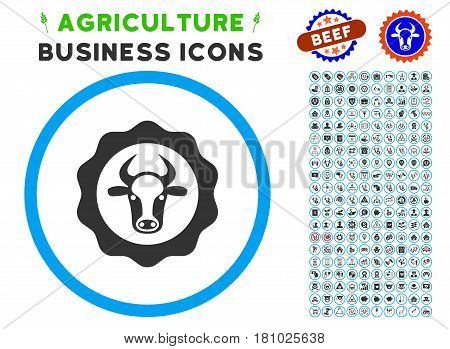 Beef Certificate rounded icon with agriculture business glyph pack. Vector illustration style is a flat iconic symbol inside a circle, blue and gray colors. Designed for web and software interfaces.