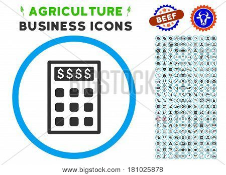Book-Keeping Calculator rounded icon with agriculture commercial icon kit. Vector illustration style is a flat iconic symbol inside a circle, blue and gray colors.