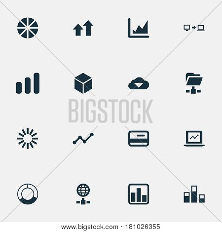 Vector Illustration Set Of Simple Analysis Icons. Elements Presentation, Hexagon, Internet Server And Other Synonyms Money, Cloud And Increase.